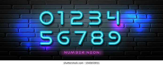 Neon Light number vector collections design on block wall black background, illustration
