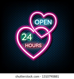 Neon light Open 24/7 light vector background. Realistic glowing shining design element in arrow frame for 24 Hours