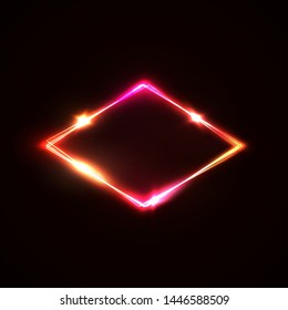 Neon light sign. Glowing laser rhomb on dark red background. Retro light lozenge signboard with neon effect. Techno logo. Brill frame. Electric street diamond. Color vector illustration in 80s style.