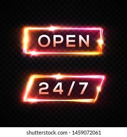Neon light signboard 24 7 open time color set on transparent background. Electric led lamp rectangle frame. Night club bar casino store shop entrance sign design template Bright 3d vector illustration