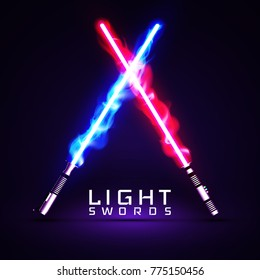 neon light swords. crossed light, fire, flash and sparkles.