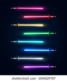 Neon light swords set. Colorful glowing sabers collection isolated on dark blue background. Luminous weapon elements for cosmic war game design. Futuristic vector illustration. EPS 10