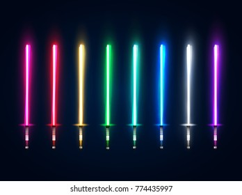 Neon light swords set. Colorful glowing sabers collection isolated on dark blue background. Luminous weapon elements for game design. Futuristic vector illustration. EPS 10
