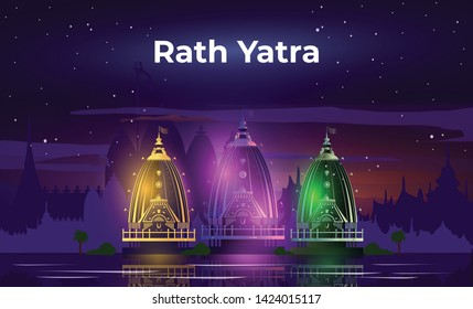Neon Light Vector Illustration of Lord Jagannath Puri Odisha God Rathyatra Festival