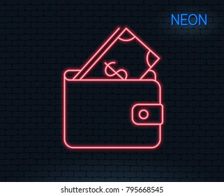 Neon light. Wallet with Cash money line icon. Dollar currency sign. Payment method symbol. Glowing graphic design. Brick wall. Vector