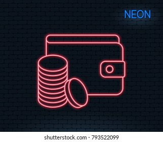 Neon light. Wallet with Coins line icon. Cash money sign. Payment method symbol. Glowing graphic design. Brick wall. Vector