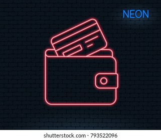 Neon light. Wallet with Credit card line icon. Cash money sign. Payment method symbol. Glowing graphic design. Brick wall. Vector