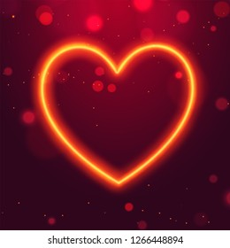 Neon lighting effect heart shape on red bokeh background for Valentine's Day concept.