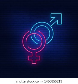 "Neon lighting lettering concatenated ""male"" and ""female"" signs as a symbol of heterosexuality, a symbol of gender. Modern vector logo, icon, banner, shield, screen, gender symbol."