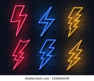 Neon lightning bolt. Glowing electric flash sign, thunderbolt electricity power icons. Vector lightning set on black background
