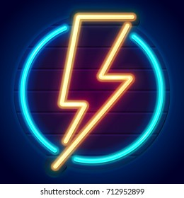 Neon lightning bolt on a wooden signboard. Banner on dark background. Eps10 vector