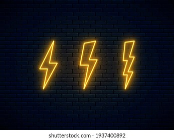 Neon lightning bolt set. Electric discharge symbol. High-voltage thunderbolt neon. Lightning, thunder and electricity sign. Banner design, bright advertising signboard elements. Vector illustration.