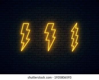 Neon lightning bolt set. High-voltage thunderbolt neon symbol. Thunder and electricity sign. Banner design, bright advertising signboard elements. Vector illustration. Electric discharge.