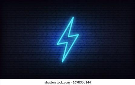 Neon lightning, thunder and electricity. Lightning bolt neon sign