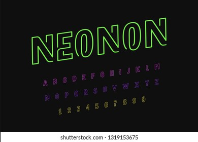 Neon lights alphabet. Vector illustration eps10 of uppercase font. Neon sign with glowing letters. Neon lights alphabet