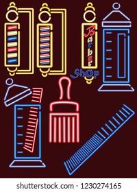 Neon Lights Barber Shop Set 1