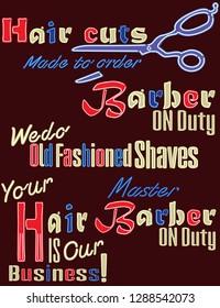 Neon Lights Barber Shop Set 3