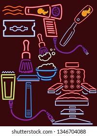 Neon Lights Barber Shop Set 6