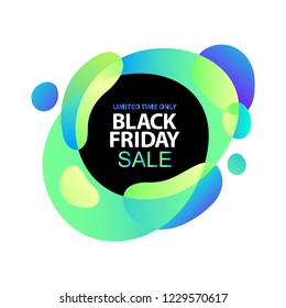 Neon lights blue, lilac, ultraviolet, pink gradients sale sticker. Minimalistic abstract liquid fluid form design. Black friday sale business offer template, social media, ads, promo posters. Vector