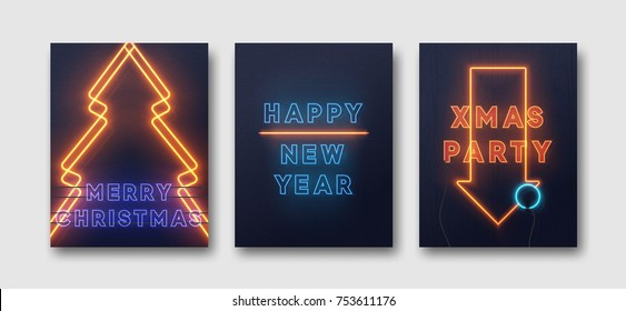Neon lights design, Merry Christmas and Happy New Year. Xmas party background, retro card, vector banner