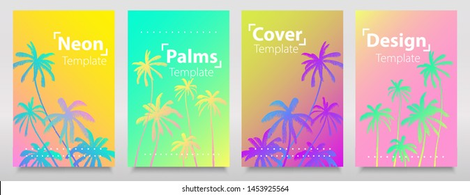Neon lights gradient effects collection of backgrounds with neon palms. Trendy bright neon colors layout, flyers, banners, poster.