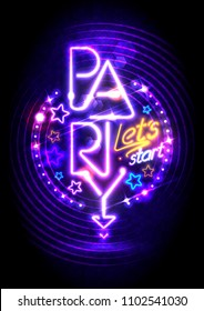 Neon lights party poster design