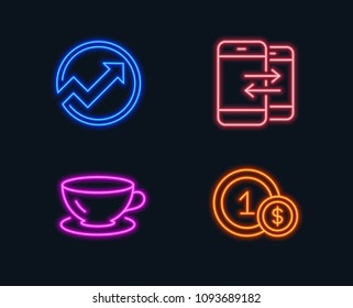 Neon lights. Set of Audit, Espresso and Phone communication icons. Usd coins sign. Arrow graph, Coffee cup, Incoming and outgoing calls. Cash payment.  Glowing graphic designs. Vector