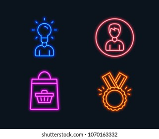Neon lights. Set of Education, Online buying and Person icons. Honor sign. Human idea, Shopping cart, Edit profile. Medal.  Glowing graphic designs. Vector