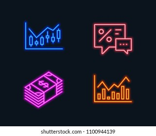 Neon lights. Set of Financial diagram, Usd currency and Discounts icons. Infochart sign. Candlestick chart, Buying commerce, Best offer. Stock exchange.  Glowing graphic designs. Vector
