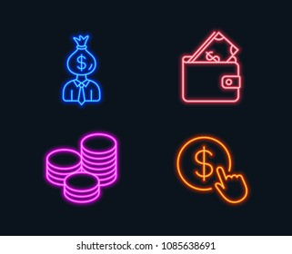 Neon lights. Set of Manager, Wallet and Tips icons. Buy currency sign. Work profit, Usd cash, Cash coins. Money exchange.  Glowing graphic designs. Vector