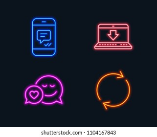 Neon lights. Set of Message, Internet downloading and Dating icons. Full rotation sign. Phone messenger, Load data, Love messenger. Refresh or reload.  Glowing graphic designs. Vector
