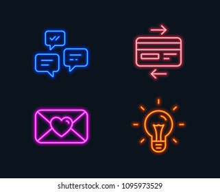 Neon lights. Set of Valentine, Chat messages and Credit card icons. Idea sign. Love letter, Communication, Bank payment. Light bulb.  Glowing graphic designs. Vector