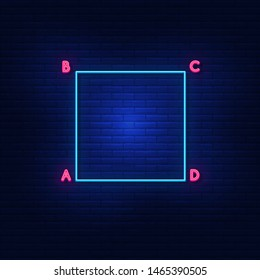 Neon lights of the square ABCD. Bright geometry. Modern vector logo, icon, banner, shield, screen, image of equal sides. Night advertising on the background of a brick wall.