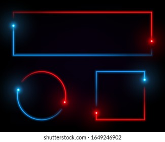 Neon line banner. Fluorescent light box. Simple geometric shapes set isolated on black background. Absract red and blue glowing spectrum effect. Concept for cover, poster, banner, presentation.