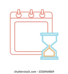 neon line calendar with hourglass object to control the time