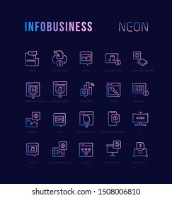 Neon linear icons of infobusiness