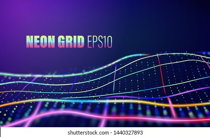 Neon lines with dots grid. 80s disco vector abstract background