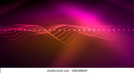 Neon lines shiny glowing background, vector futuristic techno template