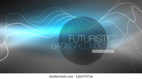 Neon lines wave background. Vector abstract composition
