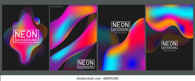 Neon liquid color splash cover vector set. Futuristic fluid paint template. Abstract neon background on black.