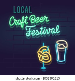 Neon local craft beer festival. Night illuminated glowing handwritten sign. Isolated illustration on brick wall background.