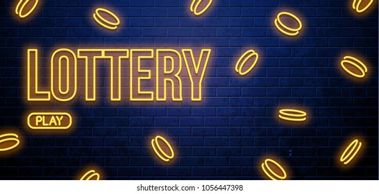 neon lottery sign isolated on brick wall