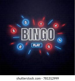 neon lottery sign isolated on brick wall bingo
