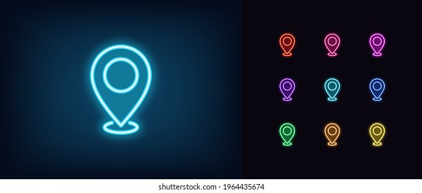 Neon map pin icon. Glowing neon marker sign, outline pointer pictogram in vivid color. Navigation mark, destination point, location marker, address place. Vector icon set, sign, symbol for UI