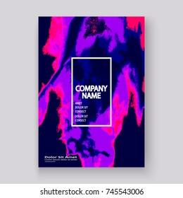 Neon marble texture explosion paint splatter artistic cover frame design. Decorative splash spray purple background. Trendy template vector Cover Report Catalog Brochure Flyer Poster Banner