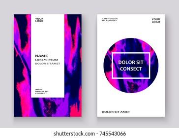 Neon marble texture explosion paint splatter artistic cover frame design. Decorative purple splash spray white background. Trendy template vector Cover Report Catalog Brochure Flyer Poster Banner