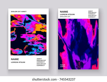 Neon marble texture explosion paint splatter artistic cover frame design. Decorative pink yellow splash spray white background. Trendy template vector Cover Report Catalog Brochure Flyer Poster Banner