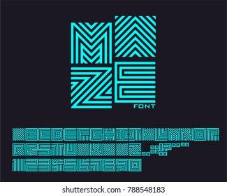 Neon Maze Font Set