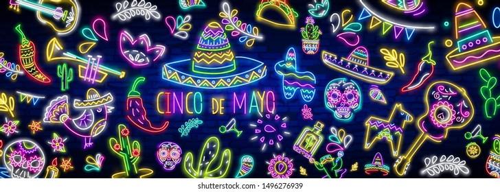 Neon Mexican icons. Icon from Cinco De Mayo. Mexico neon sign. Day of the Dead Dia de Muertos . Neon sign, bright signboard, light banner. Cactus in sombrero in neon style