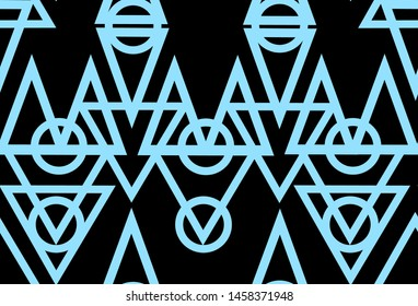 Neon minimal pattern with sacral geometry symbol on the dark background. Can be used for fluent design poster, cover, flyer.